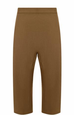 Укороченные брюки из смеси хлопка и льна с заниженной линией шага Haider Ackermann. Цвет: коричневый