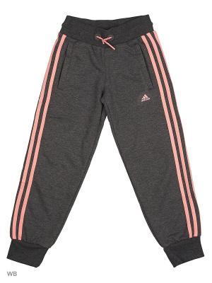 Трикотажные брюки дет. спорт. YG ESS 3S PT CH  DGREYH/RAYPNK Adidas. Цвет: серый