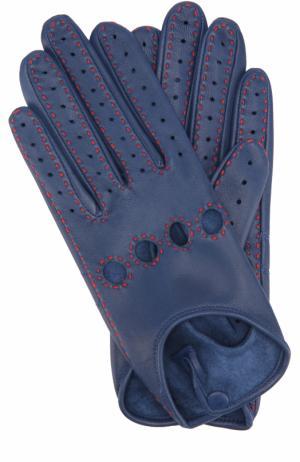 Кожаные перчатки с прострочкой Agnelle. Цвет: синий