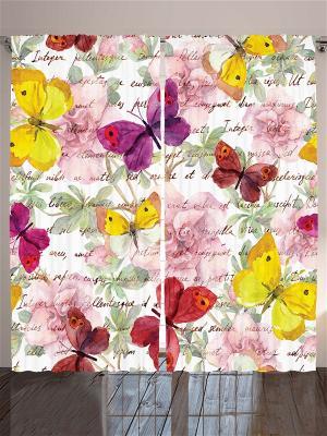 Плотные фотошторы Жёлтые, красные, фиолетовые бабочки на письме, цветы, зелёные листья, 290*265 см Magic Lady. Цвет: фиолетовый, желтый, зеленый