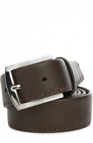 Кожаный ремень с отстрочкой Kiton. Цвет: темно-коричневый