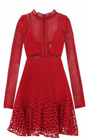 Кружевное мини-платье с длинным рукавом self-portrait. Цвет: красный