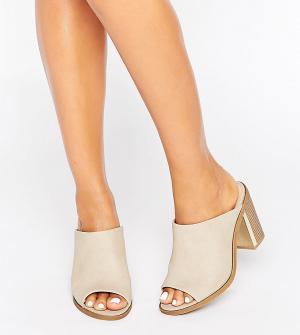 New Look Wide Fit Сабо на каблуке для широкой стопы. Цвет: светло-бежевый