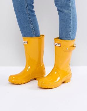 Hunter Желтые резиновые сапоги Original. Цвет: желтый