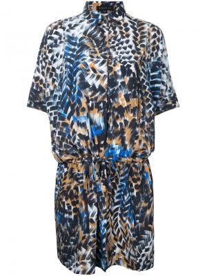 Платье-рубашка с принтом и шнурком Barbara Bui. Цвет: многоцветный