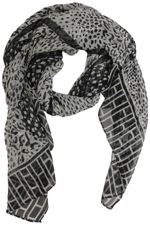 Шелковый шарф SHALBE. Цвет: черный