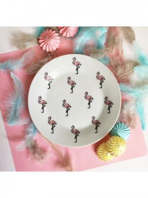Тарелка Розовый фламинго Сотвори Чудо. Цвет: белый