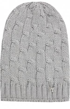 Шерстяная вязаная шапка с декором Il Trenino. Цвет: светло-серый