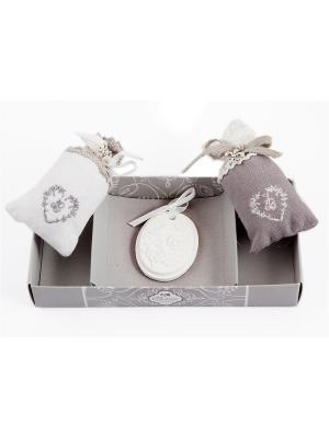 Набор аромасаше в подарочной упаковке Сердце Русские подарки. Цвет: серый, белый