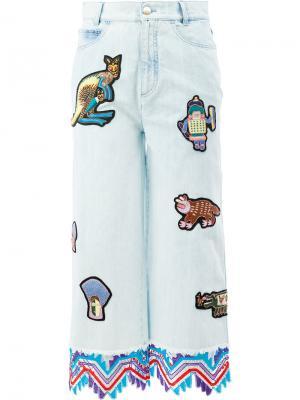 Укороченные джинсы с заплатками Peter Pilotto. Цвет: синий