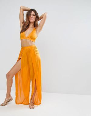 ASOS Комбинируемые пляжные брюки с разрезами. Цвет: оранжевый