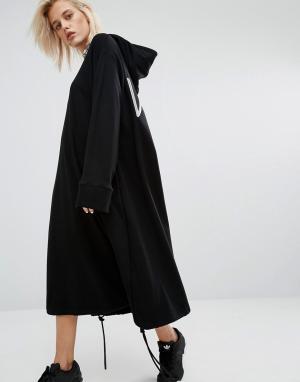 KKXX Трикотажное платье с капюшоном. Цвет: черный
