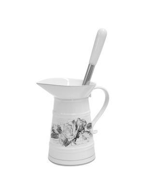 Ершик для туалета с керамической подставкой-кушином Розы Mathilde M. Цвет: белый, черный