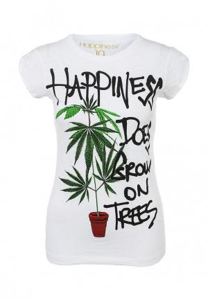 Футболка Happiness is a 10$ tee. Цвет: белый