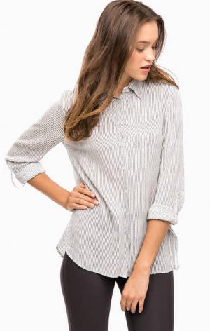 Рубашка из вискозы в полоску olsen. Цвет: серый