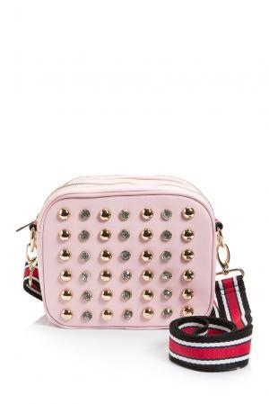 Сумка с ремнем декорированная заклепками и кристаллами 184661 Anna Rita N. Цвет: розовый