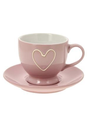 Чашка с блюдцем RICH LINE Home Decor. Цвет: розовый