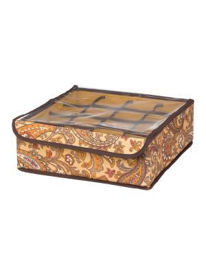 Кофр для нижнего белья и носков Перо павлина EL CASA. Цвет: коричневый, оранжевый
