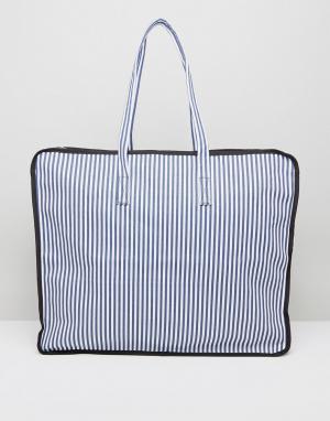 ASOS Большая пляжная сумка в полоску (темно-синий/белый) HERO. Цвет: мульти