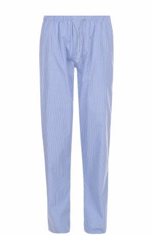 Хлопковые домашние брюки свободного кроя Zimmerli. Цвет: голубой