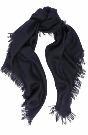 Платок из шерсти и шелка с бахромой Gucci. Цвет: синий