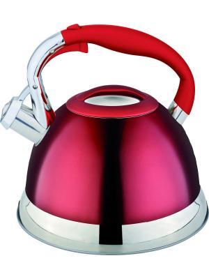 Стильный чайник со свистком 2,7л. RAINSTAHL. Цвет: красный