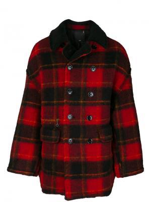 Пальто в клетку R13. Цвет: красный