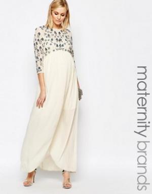 Maya Maternity Платье макси для беременных с цветочным узором и отделкой Materni. Цвет: кремовый