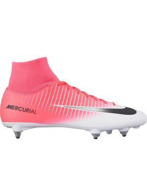 Бутсы MERCURIAL VICTORY VI DF SG Nike. Цвет: розовый, белый