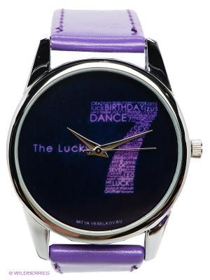 Часы Mitya Veselkov Счастливая семерка. Цвет: сиреневый, черный