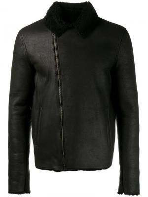 Кожаная куртка с подкладкой из овчины Lot78. Цвет: чёрный