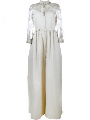 Платье с кружевом под чесучу A-силуэта Alessandra Rich. Цвет: серый