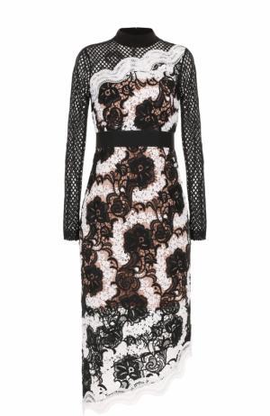 Кружевное платье-миди с длинным рукавом self-portrait. Цвет: черно-белый