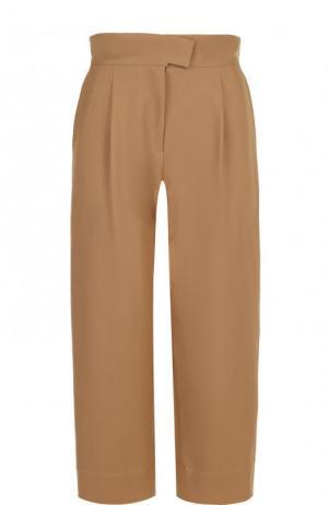 Укороченные хлопковые брюки с широким поясом Carven. Цвет: бежевый
