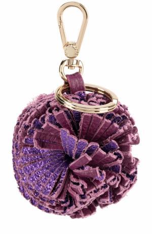 Кожаный брелок для ключей Coccinelle. Цвет: фиолетовый