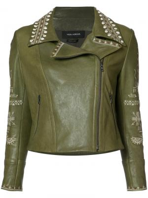 Байкерская куртка с вышивкой Yigal Azrouel. Цвет: зелёный