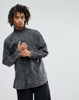Cheap Monday Джинсовая рубашка с эффектом кислотной стирки Conduct. Цвет: черный