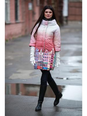 Стеганое пальто ДушеГрея. Цвет: бежевый, коралловый
