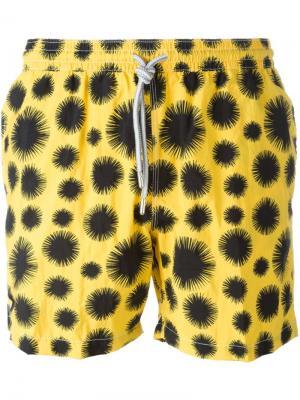 Плавательные шорты с пятнистым принтом Capricode. Цвет: жёлтый и оранжевый