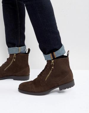 ASOS Коричневые ботинки на шнуровке с двумя молниями. Цвет: коричневый