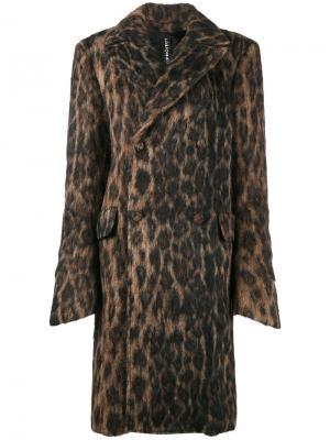 Пальто с леопардовым принтом Y / Project. Цвет: коричневый