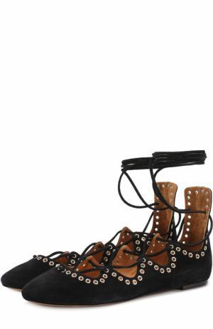Замшевые балетки на шнуровке Isabel Marant. Цвет: черный