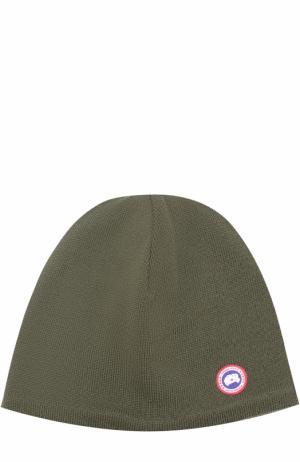 Шерстяная шапка с аппликацией Canada Goose. Цвет: хаки
