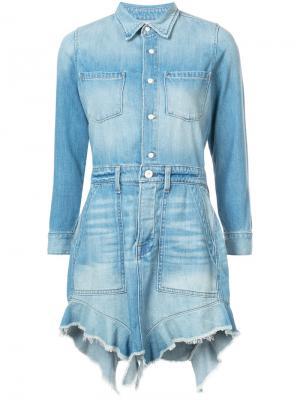 Мини-платье с асимметричным подолом NSF. Цвет: синий