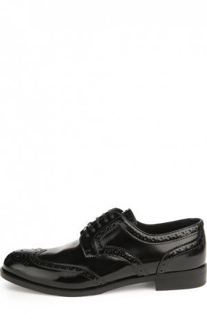 Кожаные броги Boy на шнуровке Dolce & Gabbana. Цвет: черный