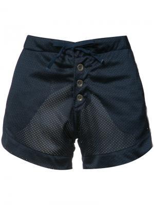 Атласные шорты с перфорированным дизайном Greg Lauren. Цвет: синий