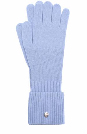 Вязаные перчатки из смеси шерсти и кашемира Escada Sport. Цвет: голубой