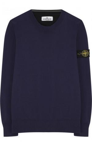 Хлопковый пуловер с круглым вырезом и нашивкой Stone Island. Цвет: синий