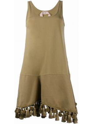 Платье с кисточками и помпонами Nº21. Цвет: жёлтый и оранжевый