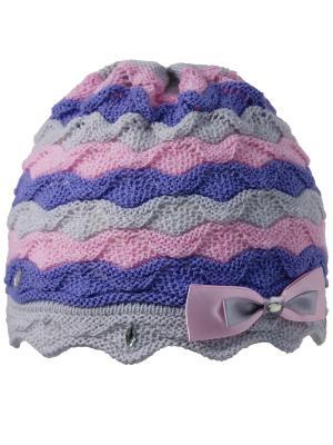 Шапка Grans. Цвет: серо-голубой, бледно-розовый, светло-серый